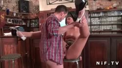 Amateur petite brunette hard anal fucked in a bar
